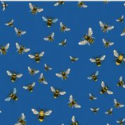 M Makower Birds and Bees - 3464 - Bees on Blue Background - 6781 B65 - Cotton Fabric